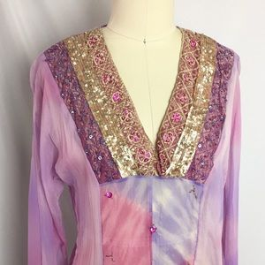 Hale Bob 100% Silk Beaded Embroidered Sequin Top